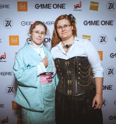 La romancière Angel Meynard et Vanessa Terral au Bordeaux Geek Festival 2016, costumes steampunk